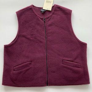 Eileen Fisher merlot fleece zip vest size Large